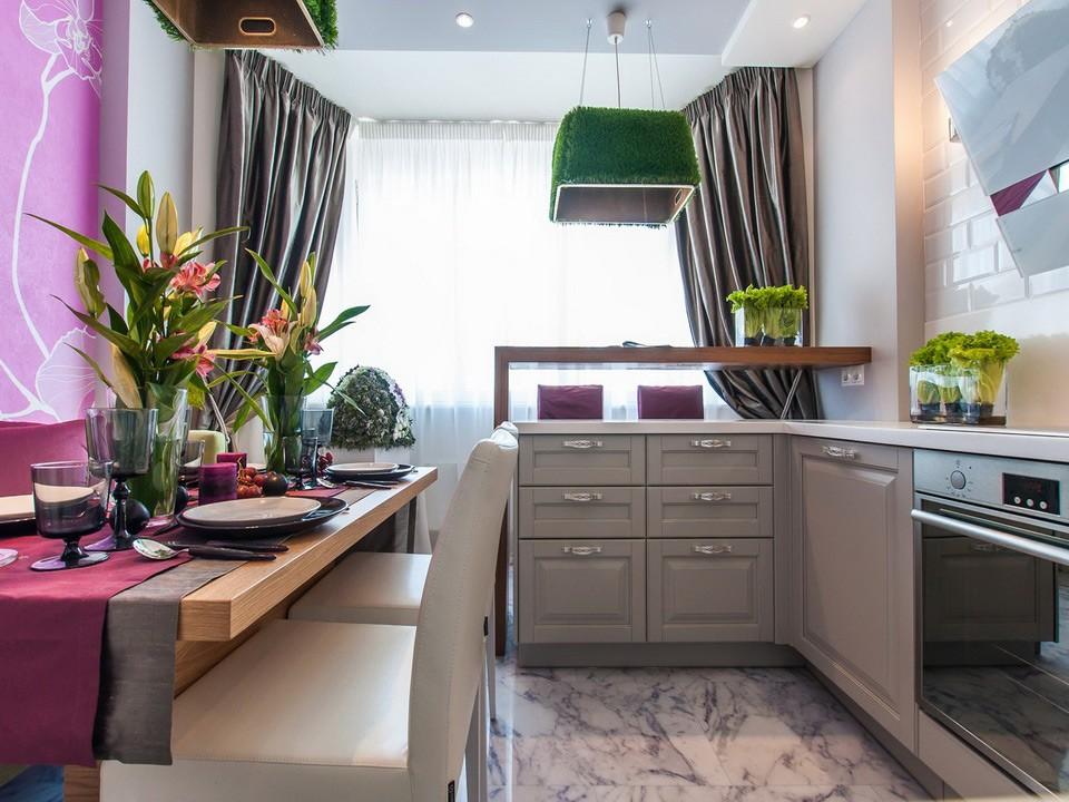 Интерьер кухни площадью 10 кв м после объединения с балконом