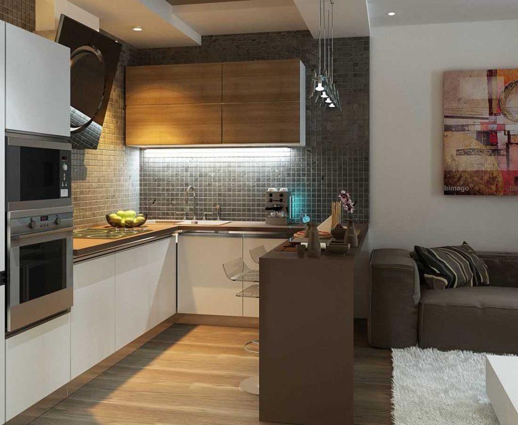 Коричневая барная стойка в интерьере кухни с диваном
