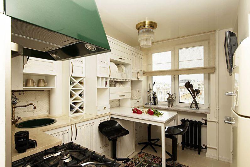 Интерьер кухни площадью 11 квадратов с белым гарнитуром