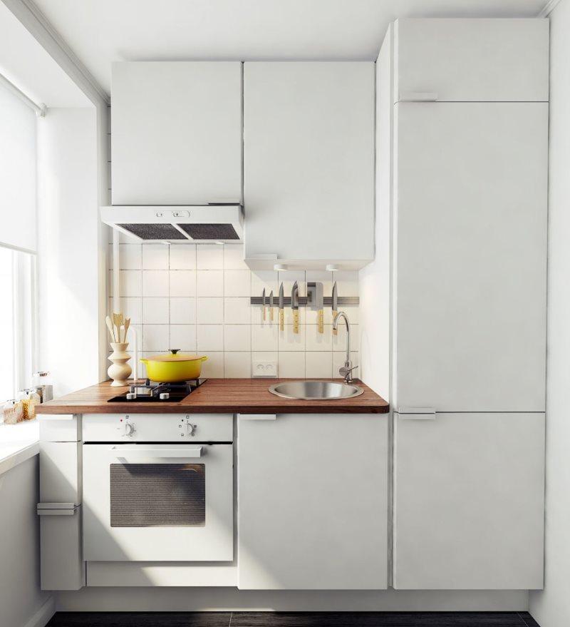 Компактный гарнитур для кухни площадью в 4 кв. метра