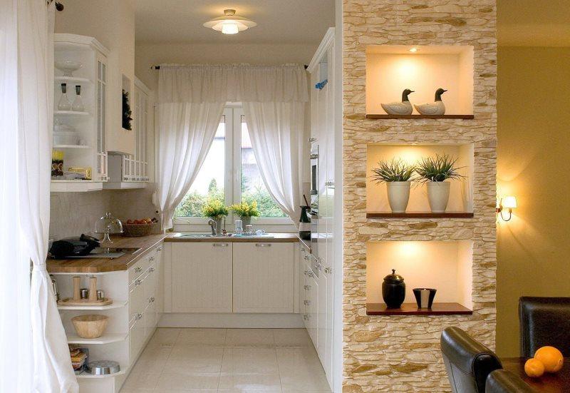 Кухонные полки с декоративной подсветкой