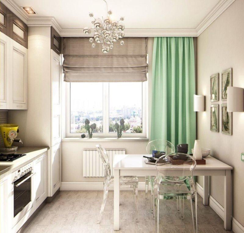 Салатовая штора на окне кухни панельного дома