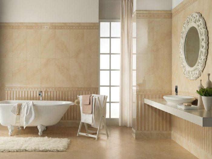 Оформление стен в ванной.