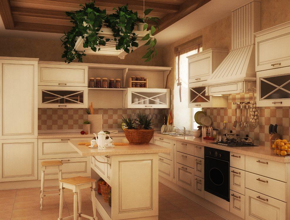 Дизайн деревенской кухни в бежевых тонах