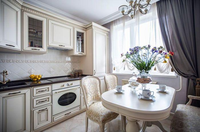 оформление кухни в классическом стиле.