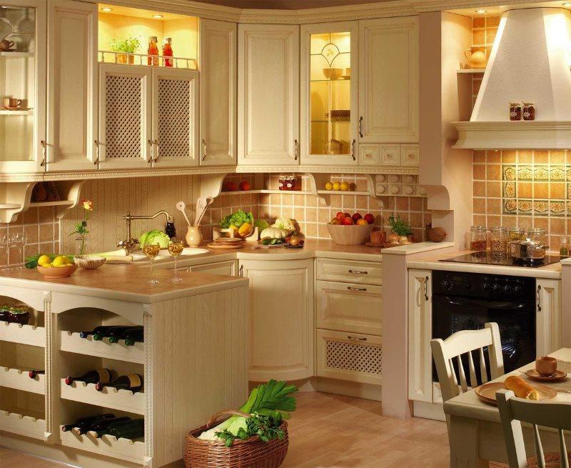Подсветка в деревянных шкафах на кухне в стиле кантри