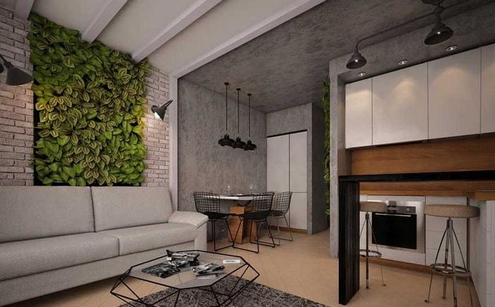 Дизайн серой кухни с живой стеной