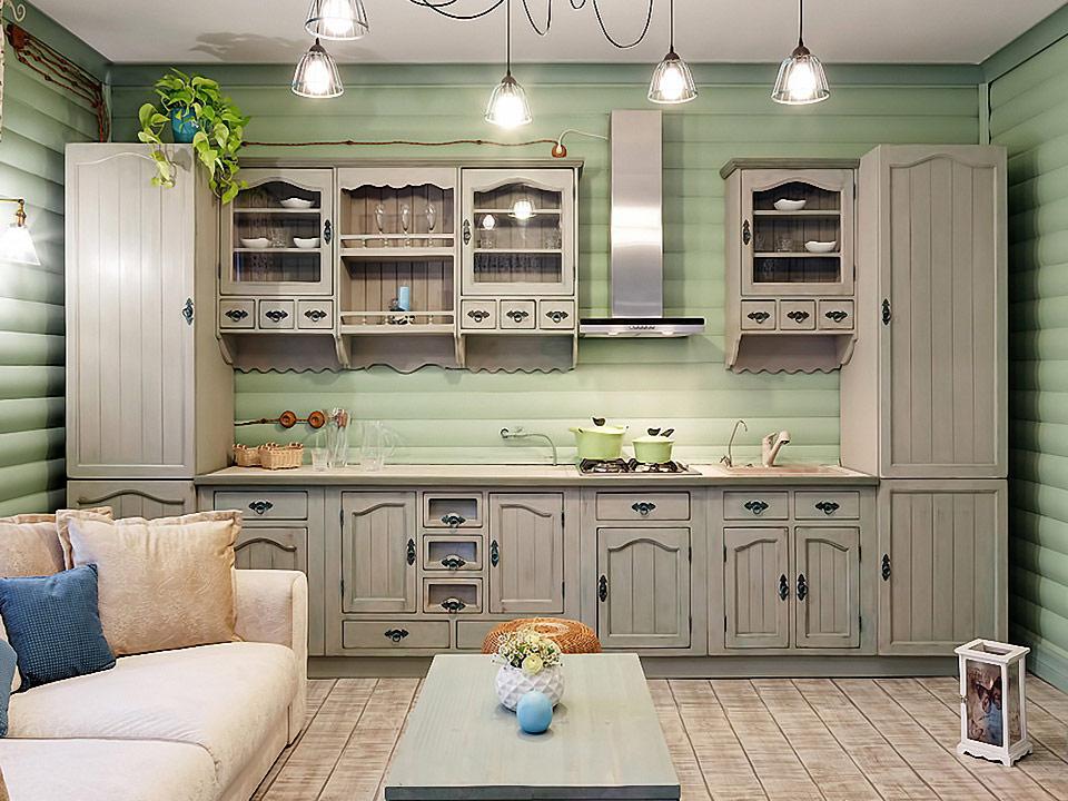 Линейная кухня в стиле прованс из натурального дерева