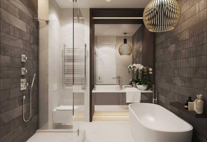 Стиль ванной с туалетом.