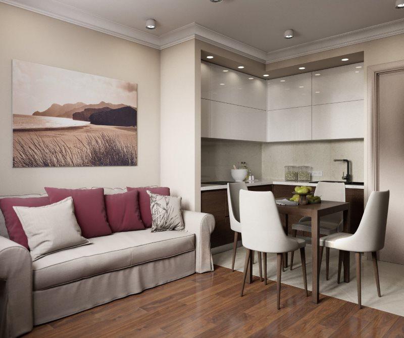 Дизайн кухни-гостиной в оттенках серого цвета