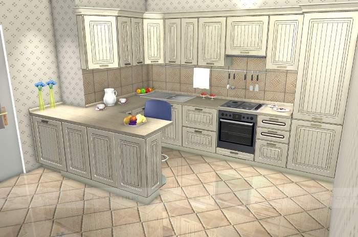 П-образная кухня планировка.
