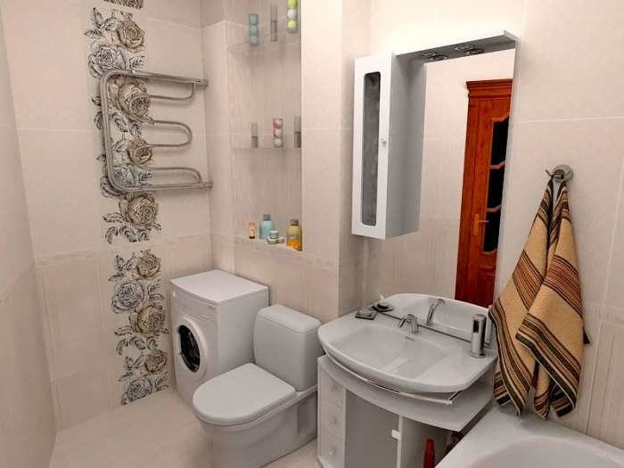 Ванная со стиральной машиной.