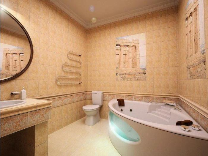 Интерьер маленькой ванной.
