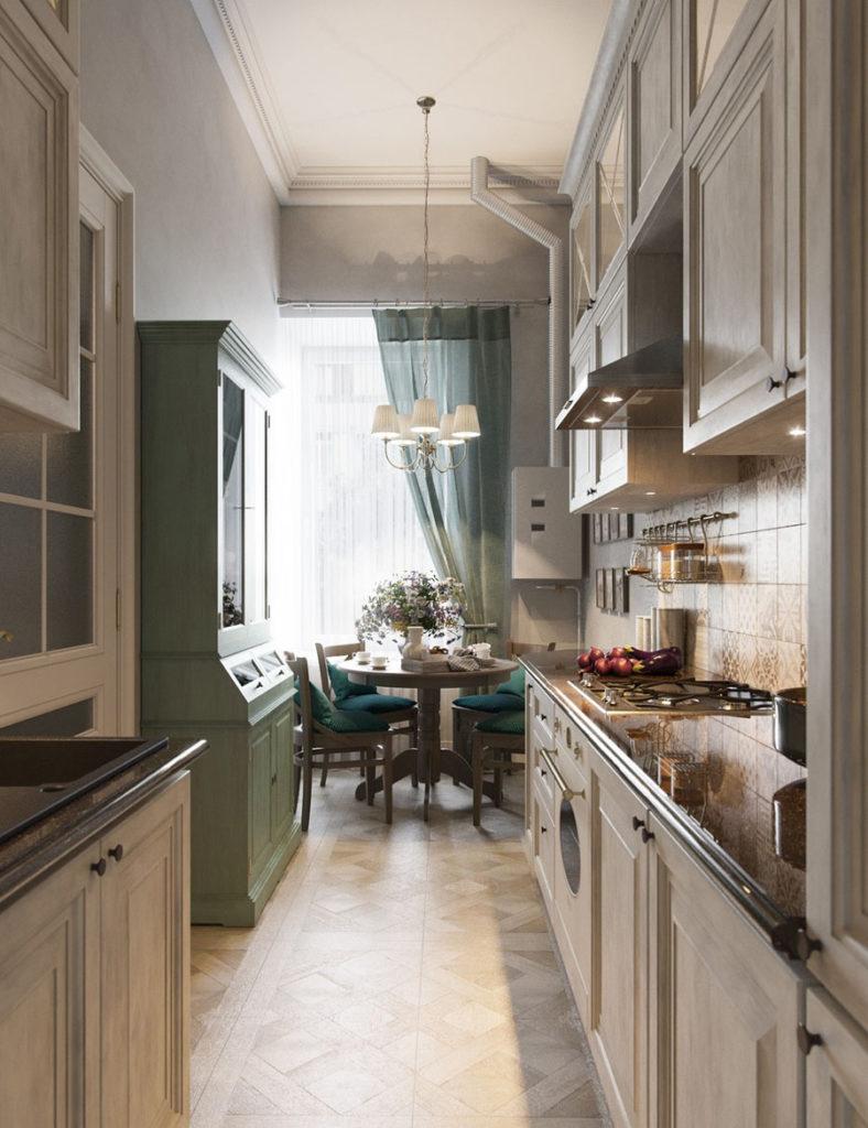 Светлая мебель в узкой кухне деревенского стиля