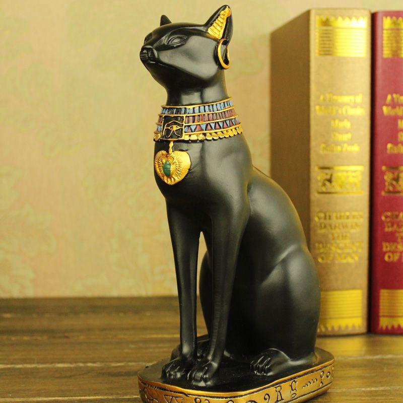 Черная статуэтка кошки для египетской ванной