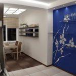 Синие обои в нише кухонной стены