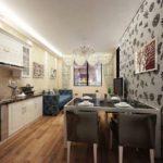 Дизайн узкой кухни-гостиной в городской квартире