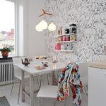 Обои в интерьере кухни скандинавского стиля