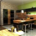 Зеленая стена в просторной кухне