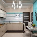 Бирюзовые обои в кухне частного дома