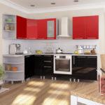 Угловой гарнитур с подвесными шкафами красного оттенка