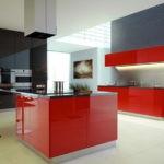 Кухонный остров красного цвета
