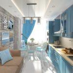 Дизайн узкой кухни с диваном