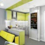 Рабочая зоны кухни гостиной в стиле хай тек