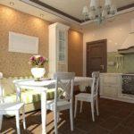 Классическая кухня с полосатым диваном