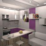 Серо-фиолетовая кухня в квартире панельного дома