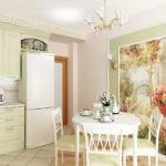 Фотообои в интерьере небольшой кухни