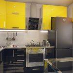 Желтые фасады навесных шкафов