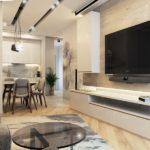 Черный телевизор в диванной зоне