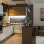 Подсветка рабочей зоны в кухне-гостиной