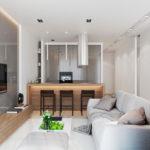 Планировка узкой кухни-гостиной