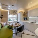 Г-образная планировка кухни гостиной