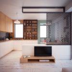 Решетчатая перегородка между кухней и гостиной