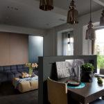Светильники на потолке кухни