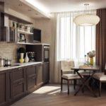 Линейная кухня с коричневыми фасадами