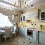 Классическая кухня с керамическим полом