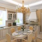 Дизайн классической кухни с дорогой мебелью