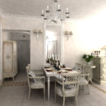 Стеклянная люстра в классической кухне