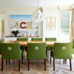 Зеленая обивка кухонных стульев