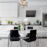 Белая кухня с фасадами без ручек