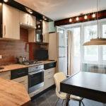 Дизайн кухни-гостиной с балконом