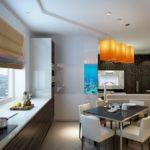 Дизайн кухни-гостиной в пастельных оттенках
