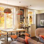 Современная мебель в интерьере кухни-гостиной