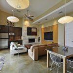 Дизайн кухни-гостиной с панорамным окном