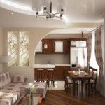 Перегородка в интерьере кухни-гостиной