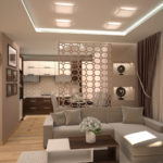 Декоративная перегородка за угловым диваном